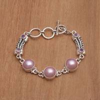 Featured review for Cultured mabe pearl and amethyst link bracelet, Wangi Trio
