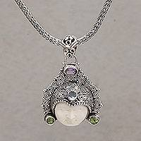 Multi-gemstone pendant necklace, 'Wayan Crown' - Multi-Gemstone Face-Shaped Pendant Necklace from Bali