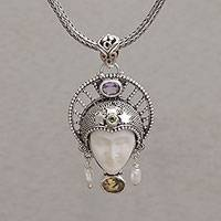 Multi-gemstone pendant necklace, 'Star King' - Multi-Gemstone Star-Themed Pendant Necklace from Bali