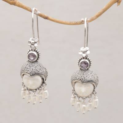 Amethyst and cultured pearl dangle earrings, 'Sunshine Princes' - Amethyst and Cultured Pearl Dangle Earrings from Bali