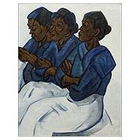 'Blue-Clothed Saleswomen' - Oil on Canvas Painting of Three Market Women
