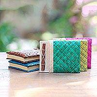 Natural fiber journals, 'Rainbow Weaver' (set of 5) - Set of 5 Colorful Hand-Woven Pandan Leaf Journals from Bali
