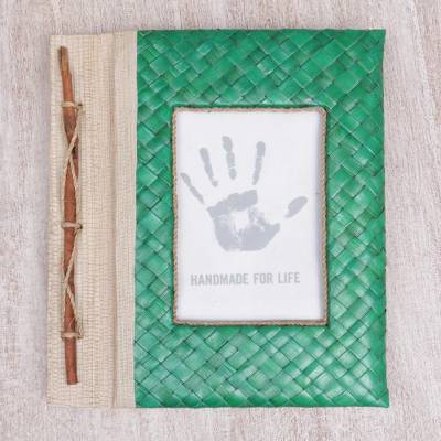 Natural fiber journal, 'Woven Memories in Green' - Hand-Woven Pandan Leaf Journal with Photo Cover in Green