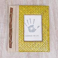 Natural fiber journal, 'Woven Memories in Yellow' - Hand-Woven Pandan Leaf Journal with Photo Cover in Yellow