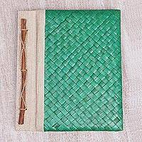 Natural fiber journal, 'Happy Weaver in Green' - Artisan Hand-woven Pandan Leaf Journal in Green from Bali