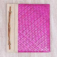 Natural fiber journal, 'Happy Weaver in Pink' - Artisan Hand-Woven Pandan Leaf Journal in Pink from Bali