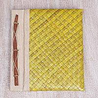 Pandan leaf journal, 'Happy Weaver' - Yellow Pandan Leaf 100 Page Journal from Indonesia