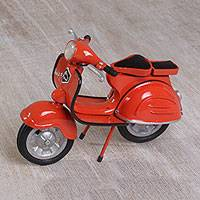 Brass statuette, 'Orange Vintage Vespa' - Adorable Mini Brass Vespa Scooter Replica in Orange