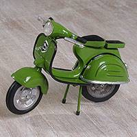 Brass statuette, 'Grandpa's Vespa' - Handcrafted Brass Vespa Statuette in Green from Bali