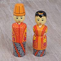 Mahogany toothpick holders, 'Married Couple' (pair) - Two Cultural Mahogany Toothpick Holders in Orange from Bali