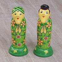 Mahogany toothpick holders, 'Elderly Couple' (pair) - Two Cultural Mahogany Toothpick Holders in Green from Bali