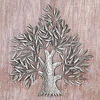 Steel wall art, 'Tree of Heaven' - Tree Wall Accent Handmade from Steel