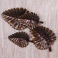 Steel wall art, 'Shady Leaf' - Brass and Bronze Hued Metal Leaf Wall Sculpture