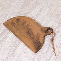 Teakwood cutting board, 'Dinnertime Memories' - Handcrafted Teakwood Cutting Board from Indonesia