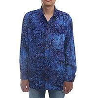 Men's rayon shirt, 'Batik Adventure' - Handmade Men's Blue Batik Long-Sleeved Shirt from Bali
