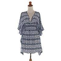 Rayon caftan, 'Candi Dasa Lady' - Navy and White Hand-Stamped Ikat Caftan from Bali