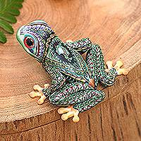 Polymer clay sculpture, 'Vibrant Tree Frog' - Handcrafted Colorful Polymer Clay Frog Sculpture from Bali