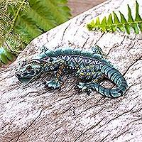 Polymer clay sculpture, 'Watchful Iguana' - Handcrafted Polymer Clay Iguana Sculpture from Bali