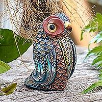 Polymer clay sculpture, 'Decorative Owl' (small) - Colorful Polymer Clay Owl Sculpture (Small) from Bali