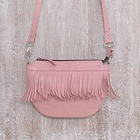 Leather sling bag, 'Pink Dancer' - Fringed Petal Pink Leather Sling Handbag