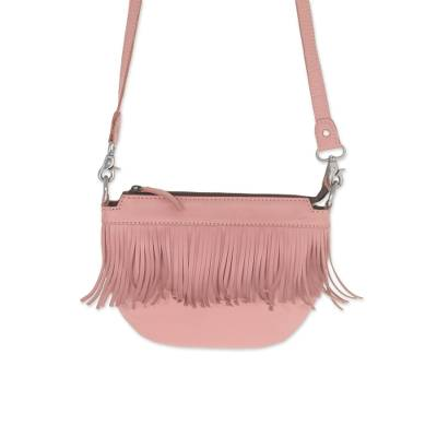 Fringed Petal Pink Leather Sling Handbag