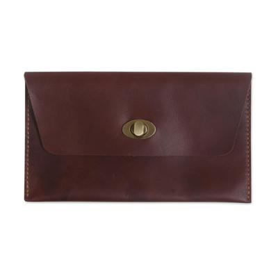Dark Brown Leather Minimalist Clutch Wallet