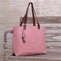 Leather tote bag, 'Balinese Abundance' - Large Indonesian Hand Crafted Pink Leather Tote Bag