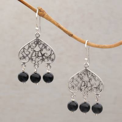 Onyx chandelier earrings, 'Gerhana Baubles' - Onyx and Sterling Silver Chandelier Earrings from Bali