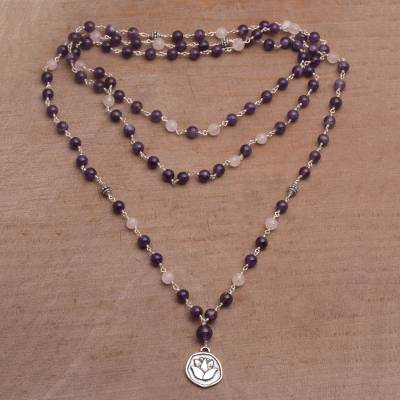 Amethyst and rose quartz long beaded pendant necklace, Lotus Power