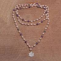 Rose quartz and amethyst pendant necklace, 'Unity in Meditation' - Floral Rose Quartz and Amethyst Pendant Necklace from Bali