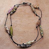 Batik cotton wrap necklace,