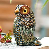 Polymer clay sculpture, 'Decorative Owl' (large) - Colorful Polymer Clay Owl Sculpture (Large) from Bali