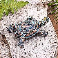 Polymer clay sculpture, 'Decorative Tortoise' (3 inch) - Colorful Polymer Clay Tortoise Sculpture (3 inch) from Bali