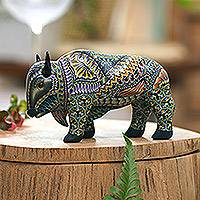 Polymer clay sculpture, 'Majestic Bison' - Handcrafted Polymer Clay Sculpture of a Bison from Bali