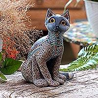 Polymer clay sculpture, 'Decorative Cat' - Handcrafted Polymer Clay Sculpture of a Cat from Bali