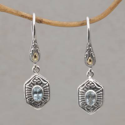 Gold accent blue topaz dangle earrings, 'Beacon Fire' - Balinese Silver and Blue Topaz Earrings with Gold Accents