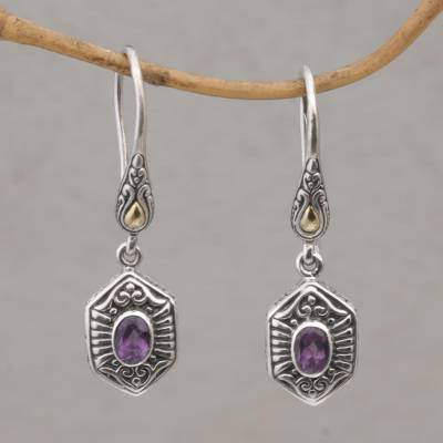 Gold accent amethyst dangle earrings, 'Beacon Fire' - Balinese Amethyst and 925 Silver Earrings with Gold Accents