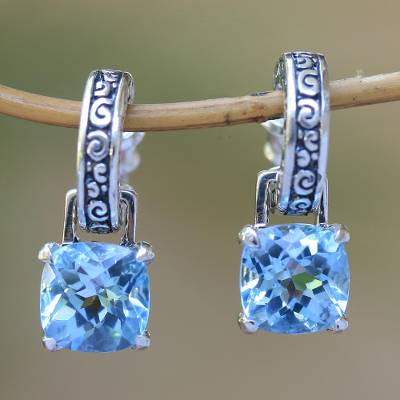 Blue topaz dangle earrings, 'Buddha Hoops' - Blue Topaz and Sterling Silver Dangle Earrings from Bali