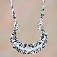 Sterling silver pendant necklace, 'Eden Crescent' - Floral Sterling Silver Crescent Necklace from Bali