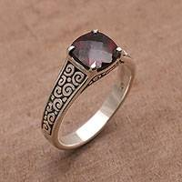 Garnet cocktail ring, 'Buddha Sparkle' - Garnet and Sterling Silver Cocktail Ring from Bali