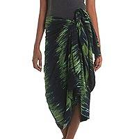 Cotton blend sarong, 'Forest Zebra' - Indonesian Black and Green Tie-Dyed Cotton and Rayon Sarong