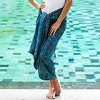 Cotton blend sarong, 'Sea Vibes' - Handmade Azure Cotton Blend Sarong from Indonesia