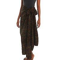 Cotton blend sarong, 'Midnight Lights' - Dot Print Cotton Blend Sarong in Black from Bali