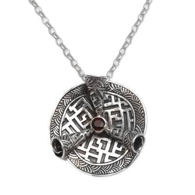 Garnet and Silver Scroll Pendant Necklace from Bali