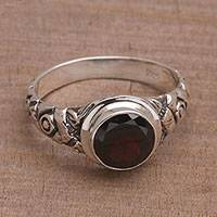Garnet single stone ring, 'Bamboo Thatch' - Garnet and Silver Bamboo Single Stone Ring from Bali