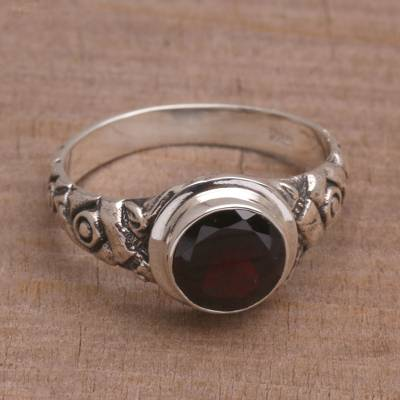handmade engagement ring boxes - Garnet and Silver Bamboo Single Stone Ring from Bali