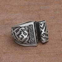 Sterling silver cocktail ring, 'Bali Scroll' - Sterling Silver Scroll Cocktail Ring from Bali