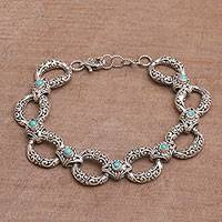 Turquoise link bracelet, 'Garden Chain' - Turquoise and Sterling Silver Link Bracelet from Bali