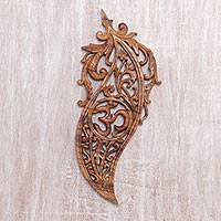 Wood relief panel, 'Om Chili' - Hand-Carved Suar Wood Om-Themed Relief Panel from Bali