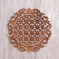 Wood relief panel, 'Starry Pond' - Handcrafted Suar Wood Floral Relief Panel from Bali